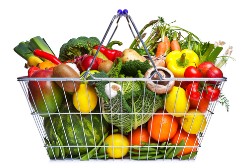 Grocery cart full of organic produce